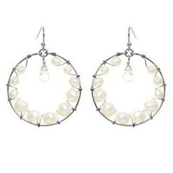 Keleo - Silver clear quartz, pearl earrings