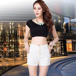 Sienne - Buttoned High Waist Denim Shorts