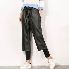 Clover Dream - Faux Leather Wide-leg Inset Leggings