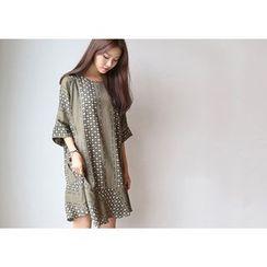 Hello sweety - Ruffle-Hem Patterned Dress
