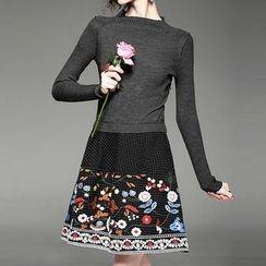 Alaroo - 刺繡假兩件A字連衣裙