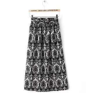 JVL - Elastic-Waist Patterned Chiffon Maxi Skirt