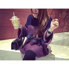 Dream Girl - Maternity Color Block Chunky Sweater