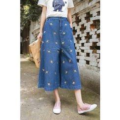 Storyteller - Embroidered Wide-leg Jeans