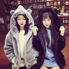 Ashlee - Ear Hooded Furry Jacket
