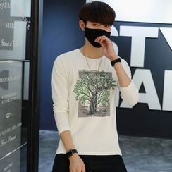 DUKESEDAN - Tree Print Long Sleeve T-Shirt