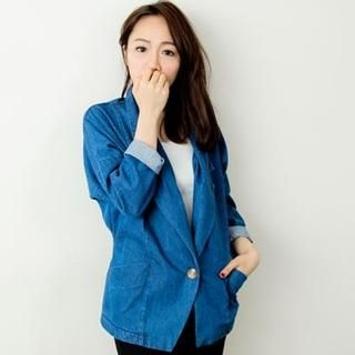D.P-Shop - One-Button Denim Blazer