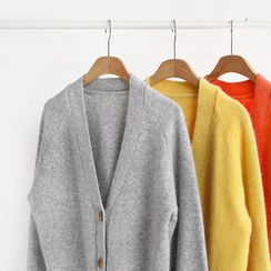 NIPONJJUYA - V-Neck Buttoned Wool Blend Cardigan