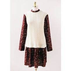 J-ANN - Inset Knit Floral Print Dress