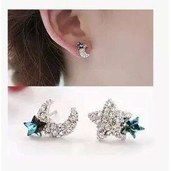 Avery - Rhinestone Non Matching Earrings