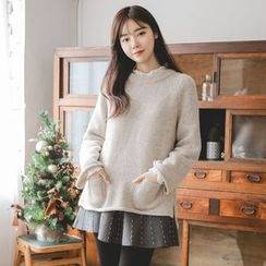 JUSTONE - Dual-Pocket Wool Blend Sweater
