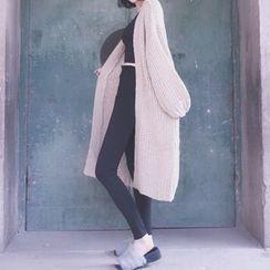 ANTEM - 纯色粗织长款开胸外套
