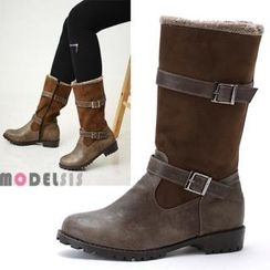 MODELSIS - Faux-Fur Trim Buckled Boots