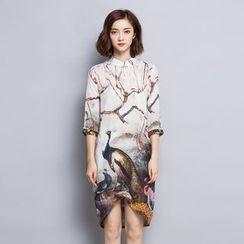 Her Story - 3/4-Sleeve Printed Dress