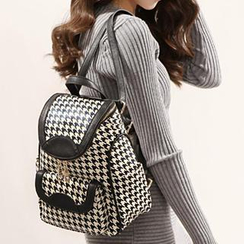 Axixi - Faux-Leather Houndstooth Backpack