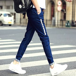 maxhomme - Lettering Straight Leg Jeans