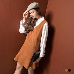 OrangeBear - 麂皮質感小魚尾襬無袖寬鬆背心洋裝