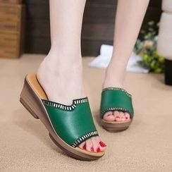 Hannah - 真皮水鑽厚底涼鞋