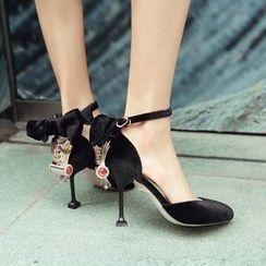 錦洋鞋業 - 飾蝴蝶結水鑽高跟涼鞋