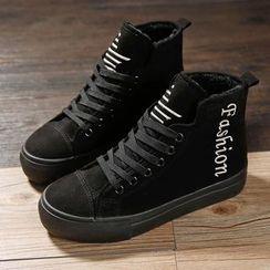 Renben - Letter Fleece-lined High-top Sneakers