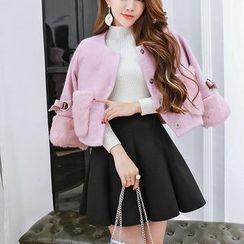 Vermilion - 套裝: 羊毛大衣 + 飾褶A字裙