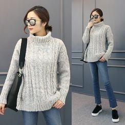 DANI LOVE - Turtle-Neck Mélange Cable-Knit Sweater