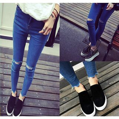 Denim Fever - Distressed Skinny Jeans
