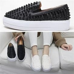 Reneve - Studded Faux-Leather Slip-Ons