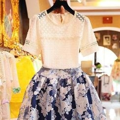 VIZZI - Set: Crochet Studded Lace Top + Floral Skirt