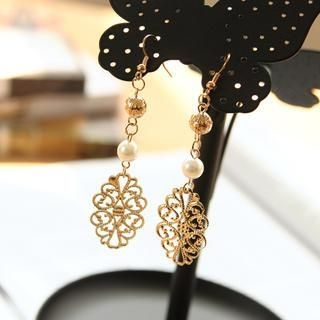 Petit et Belle - Filigree Faux Pearl Drop Earrings