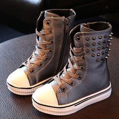 綠豆蛙童鞋 - 兒童鉚釘繫帶靴