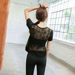 Wheatfield - Lace Back Sport Yoga Top