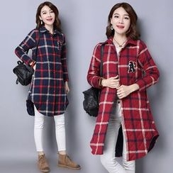 Diosa - Letter Applique Long Plaid Shirt
