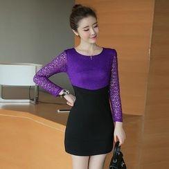 Zella - Lace Panel Long Sleeve Mini Dress