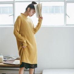 Hanme - Mock Neck Ribbed Knit Dress