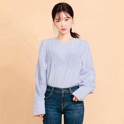 chuu - Collarless Button-Back Stripe Shirt
