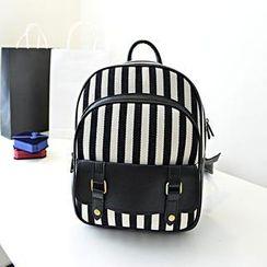 Bibiba - 条纹帆布背包