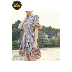 BONGJA SHOP - Patterned Open-Placket Dress with Sash