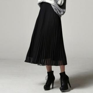SARAH - Pleated Chiffon Midi Skirt