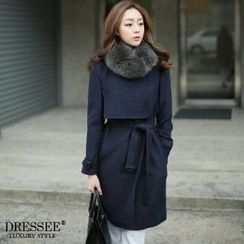 DRESSEE - Wool-Blend Trench Coat with Belt