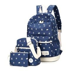VIVA - Set of 3: Print Backpack + Crossbody Bag + Pouch