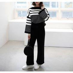 Miamasvin - Set: Striped Knit Top + Wide-Leg Pants