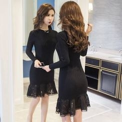 Merald - Lace Panel Long-Sleeve Dress