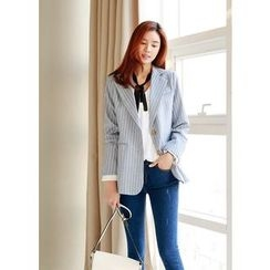 J-ANN - Notched-Lapel Single-Breasted Striped Jacket