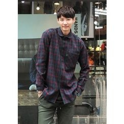 GERIO - Pocket-Front Plaid Shirt