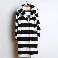 JVL - Double-Breasted Stripe Trench Coat