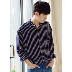 JOGUNSHOP - Mandarin-Collar Striped Shirt