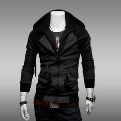 Free Shop - Double-Placket Hooded Jacket