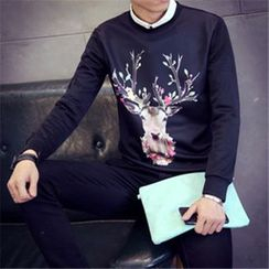 Alvicio - Printed Round Neck Long-Sleeved T-Shirt