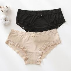 Lazy Corner - Lace-Trim Panties
